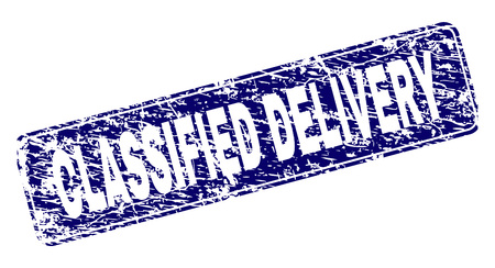 CLASSIFIED DELIVERY stamp seal print with grunge texture. Seal shape is a rounded rectangle with frame. Blue vector rubber print of CLASSIFIED DELIVERY tag with unclean texture.