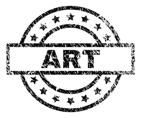 ART stamp seal watermark with distress style. Designed with rectangle, circles and stars. Black vector rubber print of ART text with retro texture.