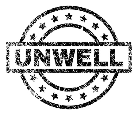 UNWELL stamp seal watermark with distress style. Designed with rectangle, circles and stars. Black vector rubber print of UNWELL title with corroded texture.