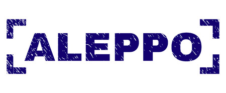 ALEPPO label seal imprint with grunge texture. Text title is placed between corners. Blue vector rubber print of ALEPPO with grunge texture.