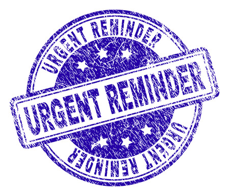 URGENT REMINDER stamp seal imprint with grunge texture. Designed with rounded rectangles and circles. Blue vector rubber print of URGENT REMINDER title with dust texture.
