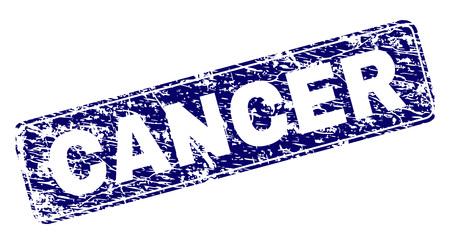Impression de sceau de timbre CANCER avec texture grunge. La forme du joint est un rectangle arrondi avec cadre. Impression en caoutchouc de vecteur bleu de la légende CANCER avec une texture impure. Vecteurs