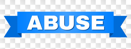 ABUSE text on a ribbon. Designed with white caption and blue stripe. Vector banner with ABUSE tag on a transparent background.