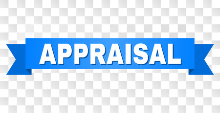 APPRAISAL text on a ribbon. Designed with white title and blue tape. Vector banner with APPRAISAL tag on a transparent background.