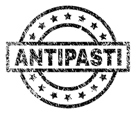 ANTIPASTI stamp seal watermark with distress style. Designed with rectangle, circles and stars. Black vector rubber print of ANTIPASTI text with scratched texture.