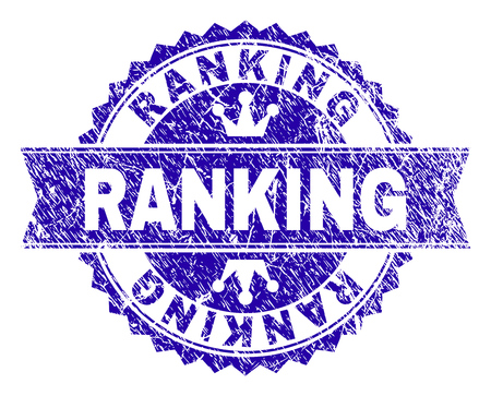 RANKING rosette seal imitation with grunge texture. Designed with round rosette, ribbon and small crowns. Blue vector rubber print of RANKING title with grunge style. Çizim
