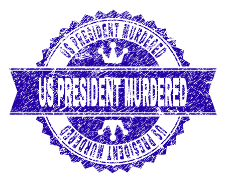 US PRESIDENT MURDERED rosette stamp imitation with grunge texture. Designed with round rosette, ribbon and small crowns. Blue vector rubber print of US PRESIDENT MURDERED caption with grunge texture.