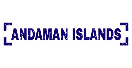ANDAMAN ISLANDS title seal print with distress texture. Text label is placed inside corners. Blue vector rubber print of ANDAMAN ISLANDS with scratched texture.