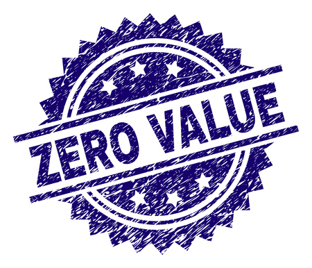 ZERO VALUE stamp seal watermark with distress style. Blue vector rubber print of ZERO VALUE text with corroded texture.