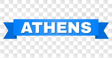 ATHEN-Text auf einem Band. Entworfen mit weißem Titel und blauem Klebeband. Vektorbanner mit ATHEN-Tag auf transparentem Hintergrund.