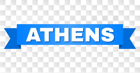 ATHENS text on a ribbon. Designed with white title and blue tape. Vector banner with ATHENS tag on a transparent background.