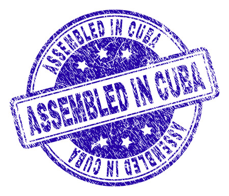 ASSEMBLED IN CUBA stamp seal watermark with distress texture. Designed with rounded rectangles and circles. Blue vector rubber print of ASSEMBLED IN CUBA caption with dirty texture.  イラスト・ベクター素材