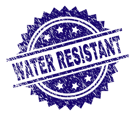WATER RESISTANT stamp seal watermark with distress style. Blue vector rubber print of WATER RESISTANT text with grunge texture.