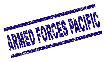 ARMED FORCES PACIFIC seal print with distress style. Blue vector rubber print of ARMED FORCES PACIFIC title with corroded texture. Text title is placed between parallel lines.