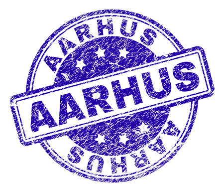 AARHUS stamp seal watermark with grunge texture. Designed with rounded rectangles and circles. Blue vector rubber print of AARHUS title with dust texture.