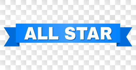 ALL STAR text on a ribbon. Designed with white title and blue tape. Vector banner with ALL STAR tag on a transparent background.