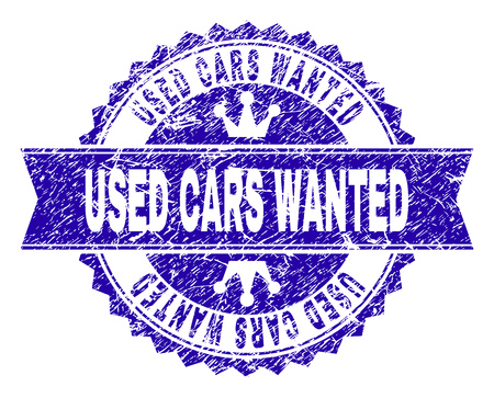 USED CARS WANTED rosette stamp seal overlay with distress texture. Designed with round rosette, ribbon and small crowns. Blue vector rubber watermark of USED CARS WANTED label with scratched texture.