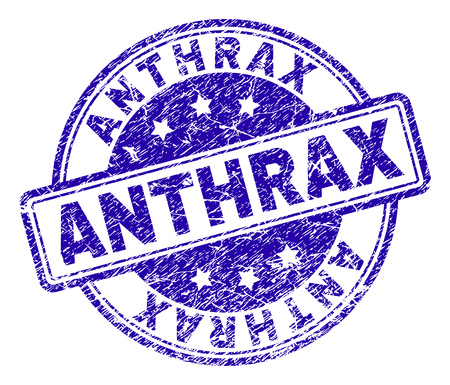 ANTHRAX stamp seal watermark with distress texture. Designed with rounded rectangles and circles. Blue vector rubber print of ANTHRAX label with dirty texture.