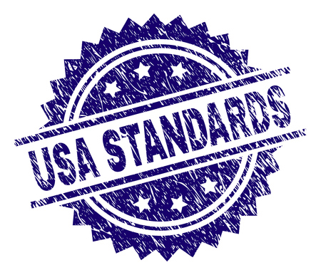 USA STANDARDS stamp seal watermark with distress style. Blue vector rubber print of USA STANDARDS title with scratched texture.