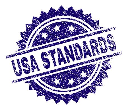 USA STANDARDS Stempelsiegel-Wasserzeichen im Distress-Stil. Blauer Vektorgummidruck des Titels USA STANDARDS mit zerkratzter Textur.