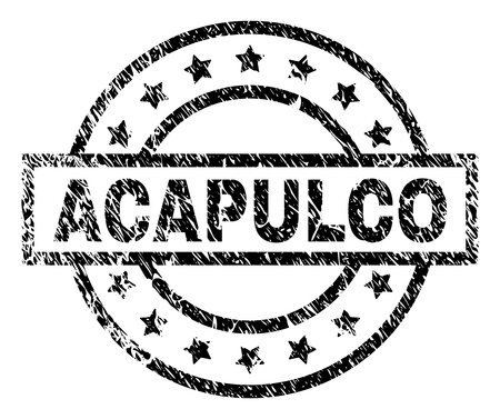 ACAPULCO stamp seal watermark with distress style. Designed with rectangle, circles and stars. Black vector rubber print of ACAPULCO title with dust texture. Illustration