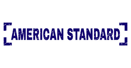AMERICAN STANDARD tag seal print with corroded texture. Text label is placed inside corners. Blue vector rubber print of AMERICAN STANDARD with dust texture. Illustration
