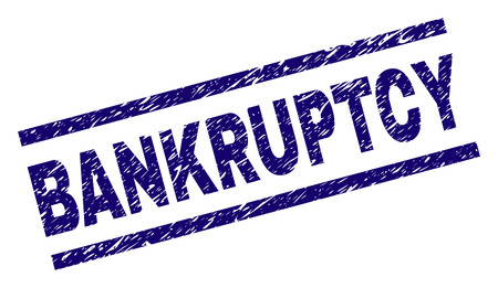 BANKRUPTCY seal imprint with distress style. Blue vector rubber print of BANKRUPTCY text with dirty texture. Text title is placed between parallel lines. Ilustração