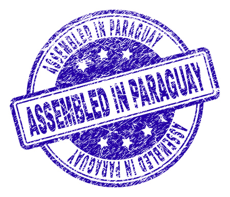 ASSEMBLED IN PARAGUAY stamp seal watermark with grunge texture. Designed with rounded rectangles and circles. Blue vector rubber print of ASSEMBLED IN PARAGUAY title with scratched texture. Illustration