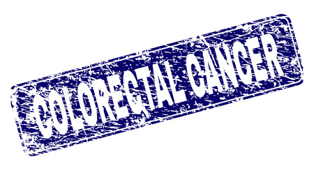 COLORECTAL CANCER stamp seal print with distress texture. Seal shape is a rounded rectangle with frame. Blue vector rubber print of COLORECTAL CANCER caption with dirty texture.