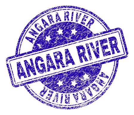 ANGARA RIVER stamp seal imprint with grunge texture. Designed with rounded rectangles and circles. Blue vector rubber print of ANGARA RIVER text with corroded texture.