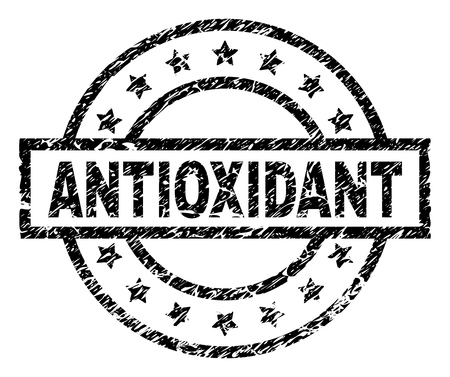 ANTIOXIDANT stamp seal watermark with distress style. Designed with rectangle, circles and stars. Black vector rubber print of ANTIOXIDANT label with dust texture.