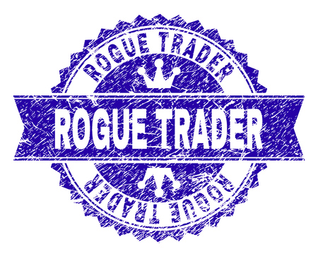 ROGUE TRADER rosette seal watermark with grunge style. Designed with round rosette, ribbon and small crowns. Blue vector rubber watermark of ROGUE TRADER title with grunge style.