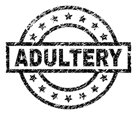 ADULTERY stamp seal watermark with distress style. Designed with rectangle, circles and stars. Black vector rubber print of ADULTERY caption with unclean texture.