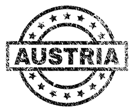 AUSTRIA stamp seal watermark with distress style. Designed with rectangle, circles and stars. Black vector rubber print of AUSTRIA caption with corroded texture.