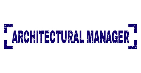 ARCHITECTURAL MANAGER tag seal print with distress style. Text tag is placed inside corners. Blue vector rubber print of ARCHITECTURAL MANAGER with dust texture.