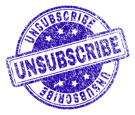 UNSUBSCRIBE stamp seal watermark with grunge texture. Designed with rounded rectangles and circles. Blue vector rubber print of UNSUBSCRIBE label with dirty texture.