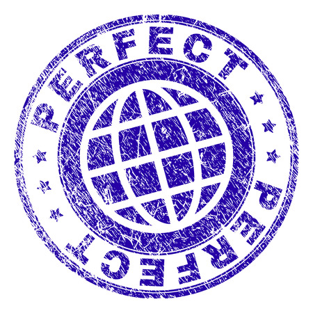 PERFECT stamp print with grunge texture. Blue vector rubber seal print of PERFECT title with scratched texture. Seal has words arranged by circle and planet symbol.