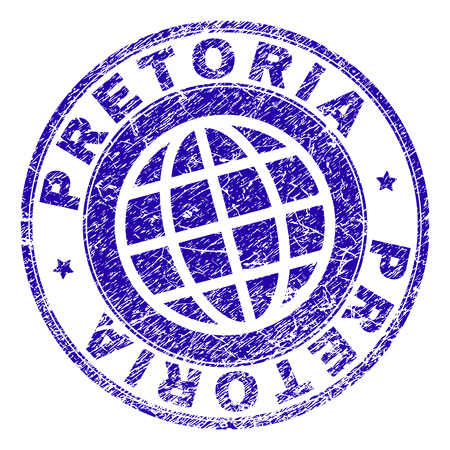 PRETORIA stamp imprint with grunge style. Blue vector rubber seal imprint of PRETORIA label with grunge texture. Seal has words arranged by circle and planet symbol.