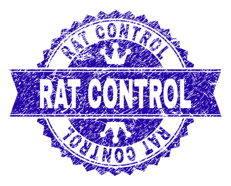 RAT CONTROL rosette stamp overlay with distress texture. Designed with round rosette, ribbon and small crowns. Blue vector rubber watermark of RAT CONTROL caption with retro texture.