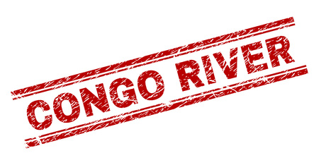 CONGO RIVER seal print with grunge texture. Red vector rubber print of CONGO RIVER text with unclean texture. Text caption is placed between double parallel lines. Illustration