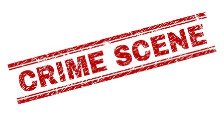 CRIME SCENE Siegeldruck mit Grunge-Effekt. Roter Vektorgummidruck von CRIME SCENE-Text mit Grunge-Textur. Das Textlabel wird zwischen doppelten parallelen Linien platziert.