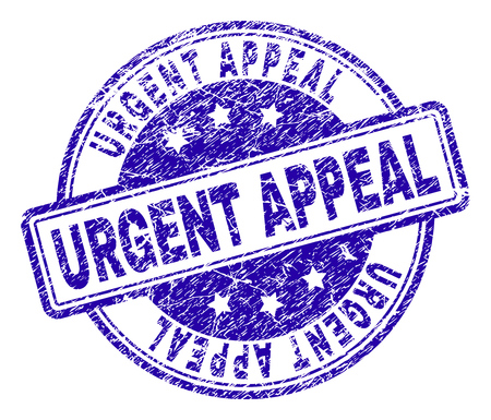 URGENT APPEAL stamp seal watermark with grunge texture. Designed with rounded rectangles and circles. Blue vector rubber print of URGENT APPEAL caption with grunge texture.
