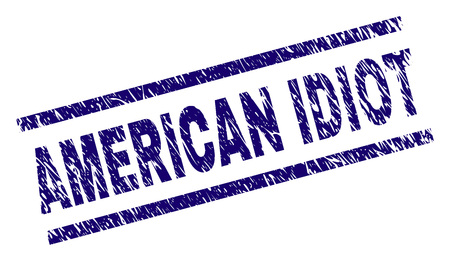 AMERICAN IDIOT seal print with scratced style. Blue vector rubber print of AMERICAN IDIOT text with corroded texture. Text label is placed between parallel lines. Illustration