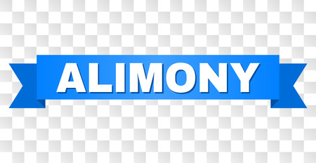 ALIMONY text on a ribbon. Designed with white caption and blue stripe. Vector banner with ALIMONY tag on a transparent background.