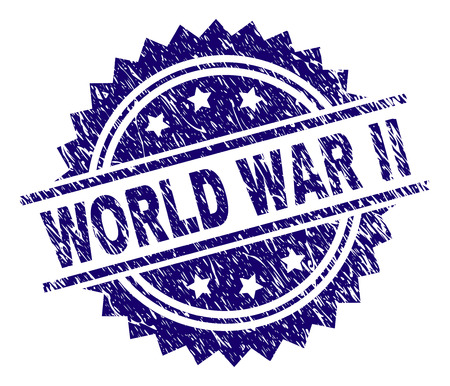 WORLD WAR II stamp seal watermark with distress style. Blue vector rubber print of WORLD WAR II title with scratched texture.