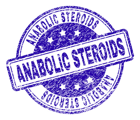 ANABOLIC STEROIDS stamp seal imprint with grunge texture. Designed with rounded rectangles and circles. Blue vector rubber print of ANABOLIC STEROIDS title with grunge texture.