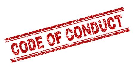CÓDIGO DE CONDUCTA sello marca de agua con textura grunge. Impresión de goma de vector rojo del título del CÓDIGO DE CONDUCTA con textura grunge. La leyenda de texto se coloca entre líneas paralelas dobles.