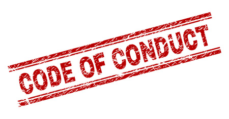 CODE OF CONDUCT seal watermark with grunge texture. Red vector rubber print of CODE OF CONDUCT title with grunge texture. Text caption is placed between double parallel lines.