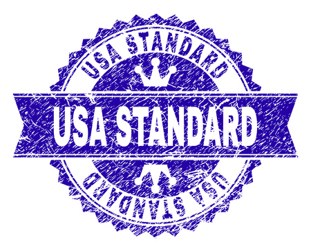 USA STANDARD rosette stamp watermark with grunge style. Designed with round rosette, ribbon and small crowns. Blue vector rubber watermark of USA STANDARD tag with unclean texture.