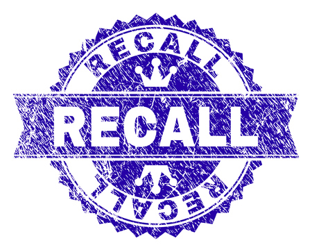 RECALL rosette stamp watermark with grunge texture. Designed with round rosette, ribbon and small crowns. Blue vector rubber print of RECALL label with grunge style. Çizim